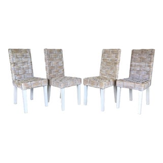 Contemporary Wicker/Rattan Distressed Dining Chairs - Set of 4 For Sale