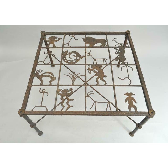 Figurative Metal and Glass Square Brutalist Coffee Table With Native American Glyph Figures For Sale - Image 3 of 11