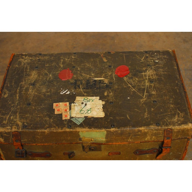 Campaign Antique Campaign Steamer Travel Trunk Luggage For Sale - Image 3 of 6