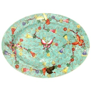 Mid 20th Century Mid-Century Chinese Porcelain Famille Hand Painted Butterfly Oval Platter For Sale