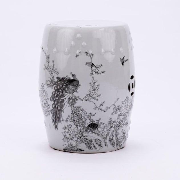 Asian White Porcelain Garden Stool Black Peacock Motif For Sale - Image 3 of 3