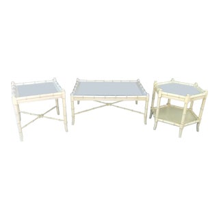 Clear Glass Vintage Chinoiserie Thomasville Faux Bamboo Coffee Table and Two Side Tables - Set of 3 For Sale