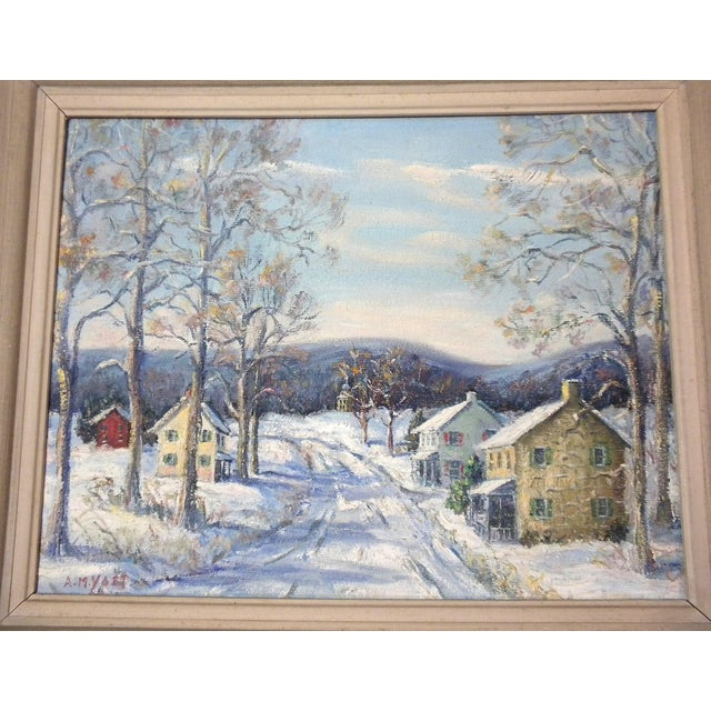 """The American School """"Easton Highway in Pennsylvania"""" Rural Village Poconos Painting by Ann Yost For Sale - Image 3 of 6"""