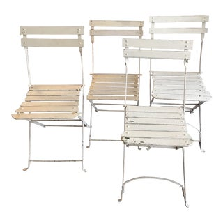 Vintage Mid Century French White Wood and Metal Folding Chairs - Set of 4 For Sale