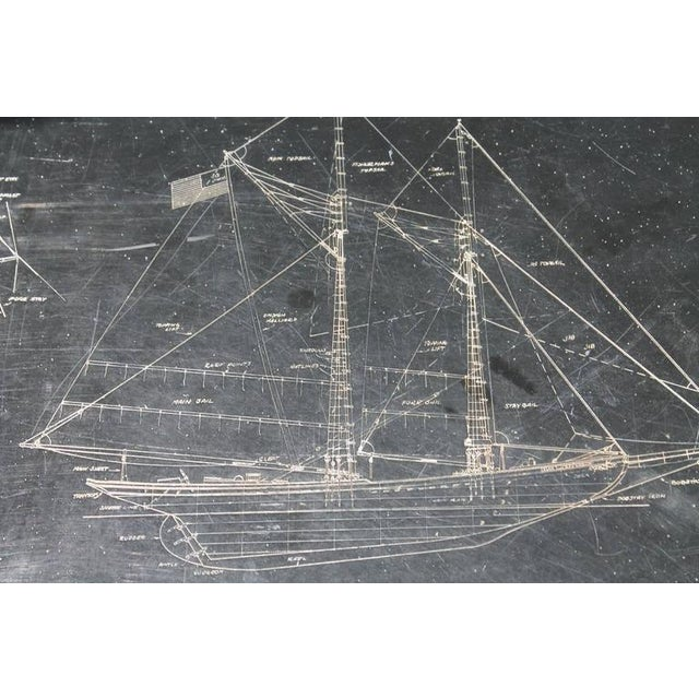 Hollywood Regency Slate Top Engraved With Clipper Ship Table For Sale - Image 3 of 4