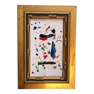 Original Painting Framed Gold Abstract Art by Artist Nancy T Van Ness For Sale
