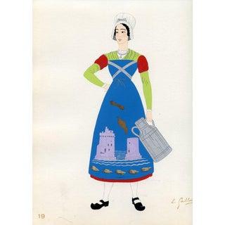 1930s, French Provincial Costumes - Aunis, Original Pochoir Print For Sale