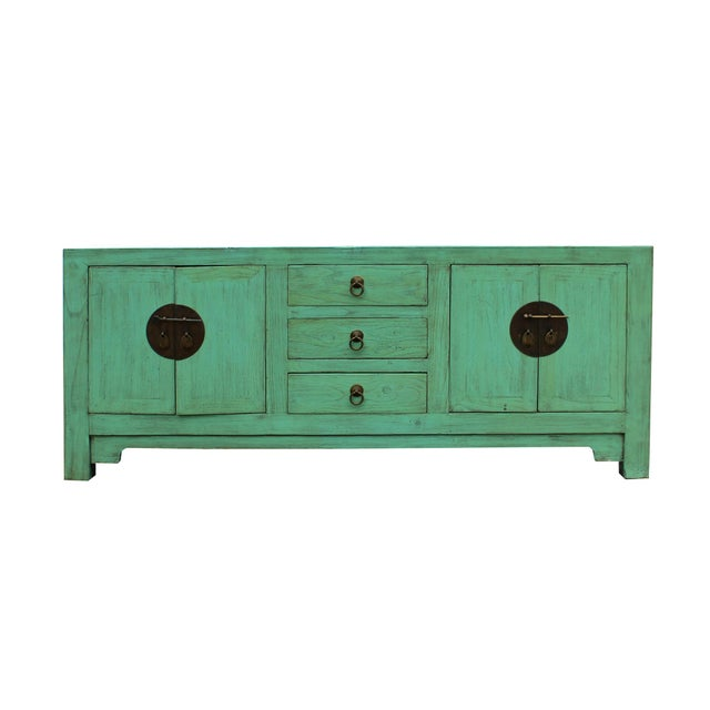 Distressed Teal Blue Wood Pattern Low Console Table Cabinet For Sale - Image 9 of 9