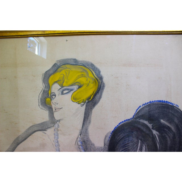 """1920s Antique 1926 Multimedia Poster by Jean Gabriel Domerge """"Alice Soulie"""" Watercolor Gouache Charcoal on Paper With Christie's Coa For Sale - Image 5 of 13"""