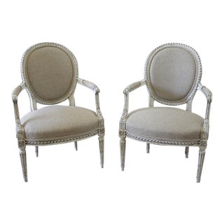 Late 19th Century Carved Louis XVI Style Armchairs - A Pair For Sale