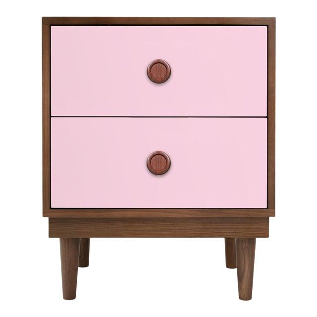 Nico & Yeye Lukka Modern Kids 2 Drawer Nightstand Walnut Pink For Sale