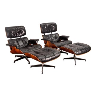 Pair of Eames 670 Lounge Chairs and 671 Ottomans