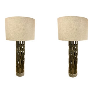 Currey & Co. Modern Architectural Metal Table Lamps Pair on a Concrete Bases For Sale