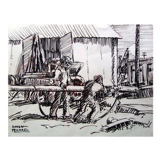 Industrial Scene Pen & Ink Drawing by Simon Michael For Sale