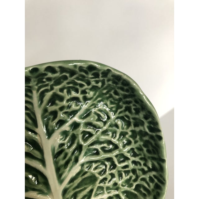 Green Vintage Bordallo Pinheiro Cabbage Serving Dish For Sale - Image 8 of 11