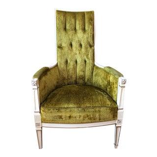 1930s Century Modern Green Velvet Tufted Accent Chair