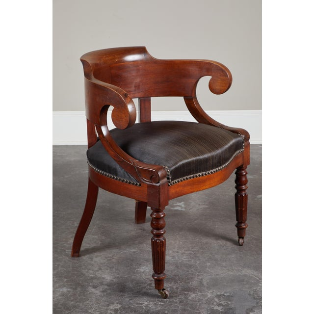 Wood Pair of 19th C. Swedish Mahogany Armchairs For Sale - Image 7 of 10