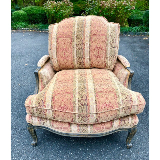 1980s Vintage French Bergere Chair With Paisley Upholstery For Sale - Image 5 of 13