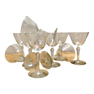 Vintage Set of Ten Etched Wine or Cocktail Gasses For Sale