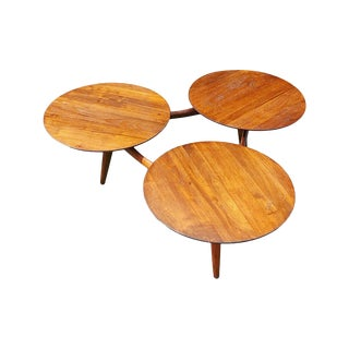 1960s Greta Grossman Style Mid Century 3 Ring Coffee Table For Sale