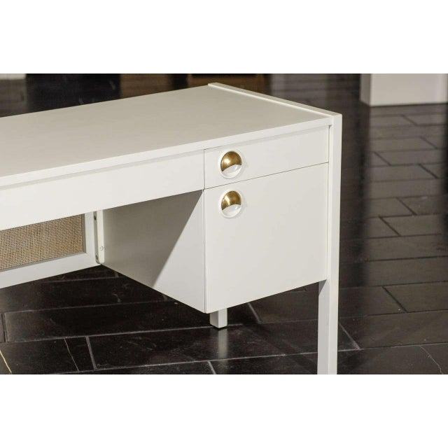 Beautiful Landstrom Modern Desk in Cream Lacquer For Sale In Atlanta - Image 6 of 11