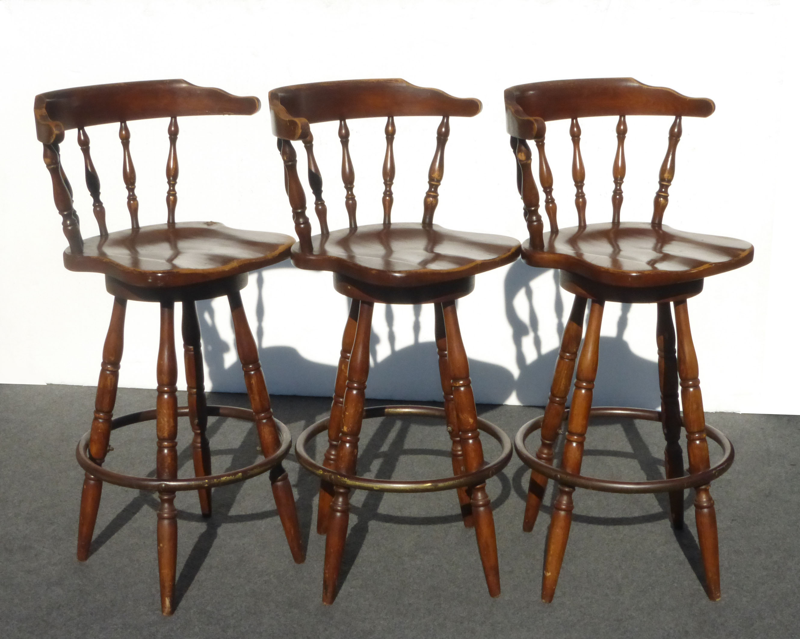 Exceptional French Country Wood Swivel Bar Stools   Set Of 3   Image 3 Of 11