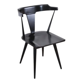Paul McCobb Planner Group T-Back Black Lacquered Solid Maple Dining Chair, Newly Restored For Sale