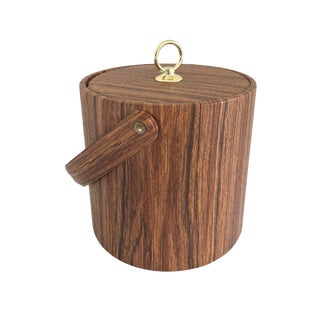 Vintage Mid Century Faux Bois Ice Bucket For Sale