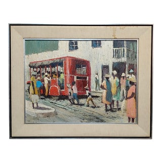 "1950s ""Last Red Bus in the Neighborhood"" Oil Painting by Jack Dudley For Sale"