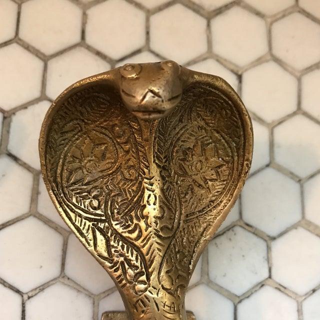 Gold Brass Cobra Door Handles- a Pair - Image 4 of 11