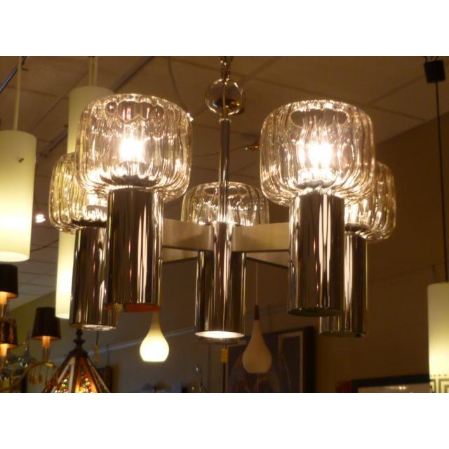 Five Globe Nickel Lightolier Mid Century Chandelier For Sale - Image 9 of 9