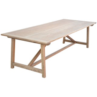 Custom Expandable Farm Table in Distressed Rift Sawn Oak For Sale