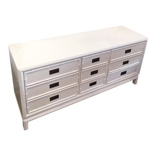 Vintage Thomasville Painted White Faux Bamboo Dresser For Sale
