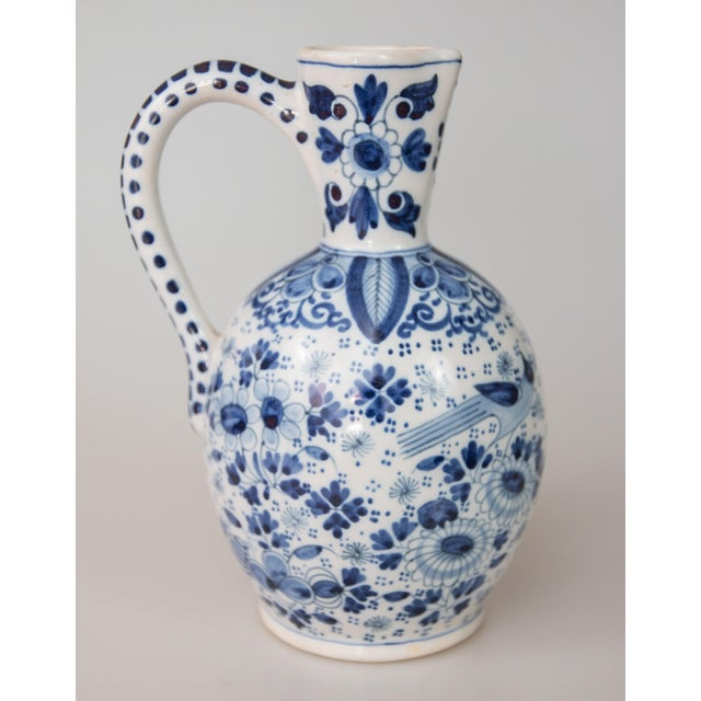 Antique Dutch Delft Faience Bird Floral Pitcher For Sale - Image 9 of 9