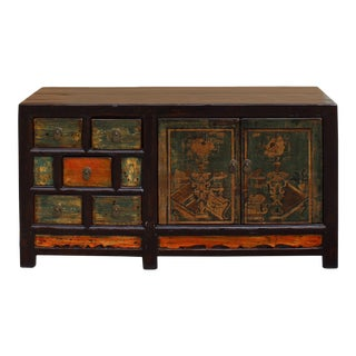 Chinese Distressed Orange Light Green Vase Flower Sideboard Table Cabinet For Sale