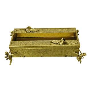 Vintage Globe 24k Gold Plated Angel Cherub Vanity Tissue Box Holder For Sale