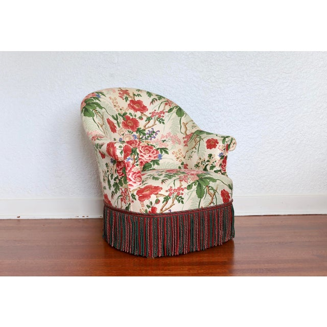 Napoleon III Style Floral Boudoir Chair With Bullion Fringe For Sale - Image 12 of 12