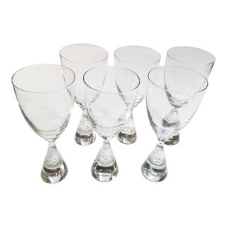 Holmegaard Princess Pattern Mid Century Danish Blown Glass Goblets or Wine Glasses - Set of 6