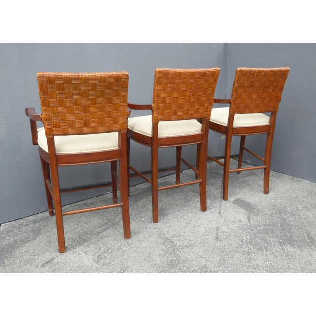 Stanley Furniture Palm Beach Style Rattan Bar Stools - Set of 3 - Image 4 of 13