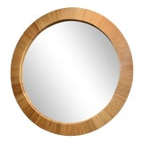Image of Bielecky Brothers Round Rattan Mirror For Sale