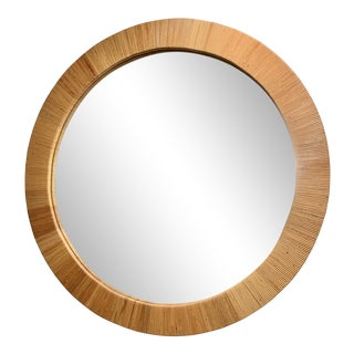 Bielecky Brothers Round Rattan Mirror For Sale