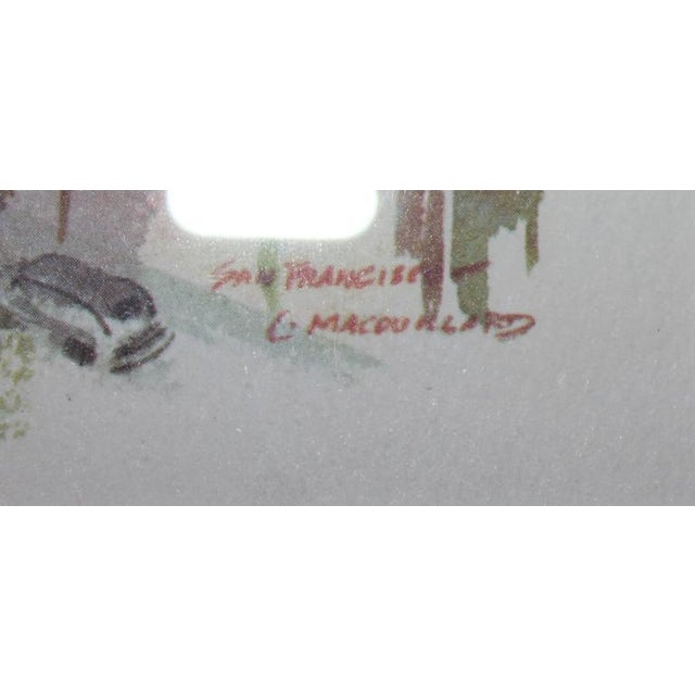 Signed C. Macourlard San Francisco Watercolor For Sale - Image 4 of 5