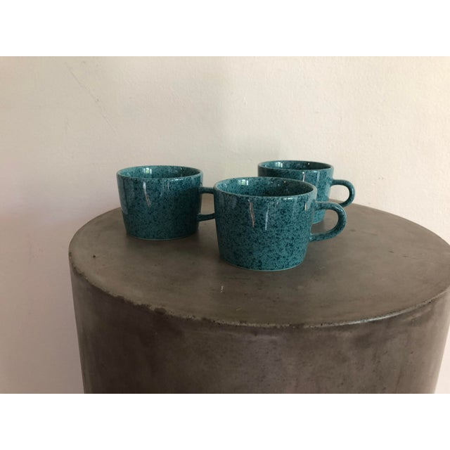 Vintage Japanese Turquoise Ceramic Teacups - Set of 3 For Sale - Image 10 of 10