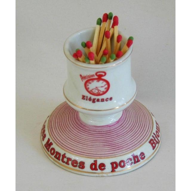 Ceramic French Parisian Cafe Porcelain Match Striker & Holder For Sale - Image 7 of 9
