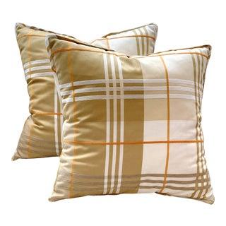 Dwm-Maloos Cream Plaid Pillows - a Pair For Sale