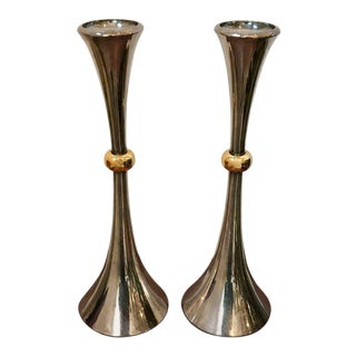 Pair of Silver Candleholders by Jens Quistgaard For Sale