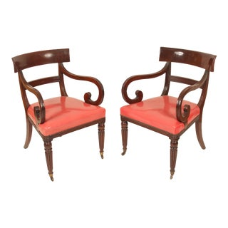 William IV Mahogany Armchairs- A Pair For Sale