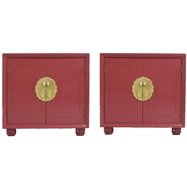 1970s Chinoiserie Nightstands With Brass Hardware in Mauve by Henredon - Freshly Painted For Sale - Image 9 of 9