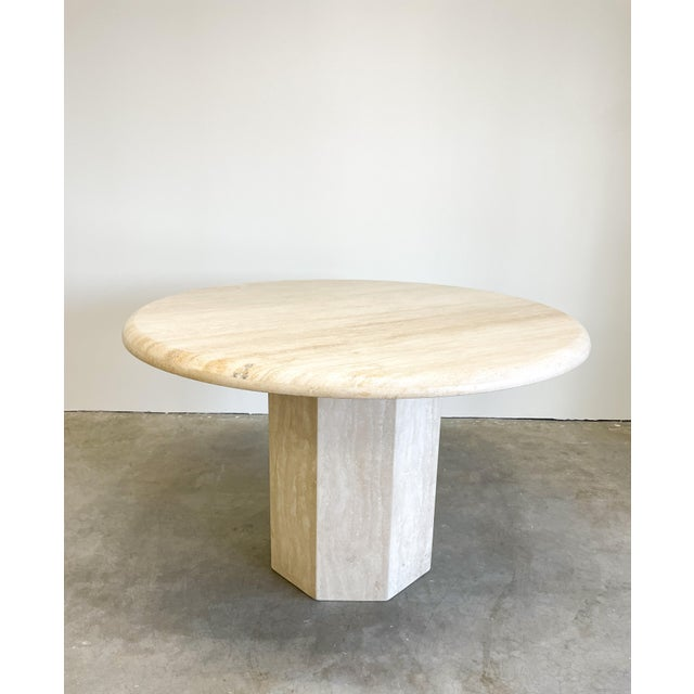 Vintage 80s, Round Marble Dining Table. Made out of solid marble stone. It's in two parts. The tabletop rests on the...