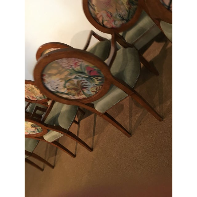 Empire Italian Tapestry & Leather Wood Arm Chairs - Set of 8 For Sale - Image 3 of 10